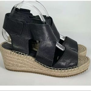 Eileen Fisher Black 'Willow' Leather Espadrilles